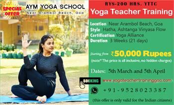 RYS 200 hrs. YTTC - Yoga Teacher Training in Goa for Indians