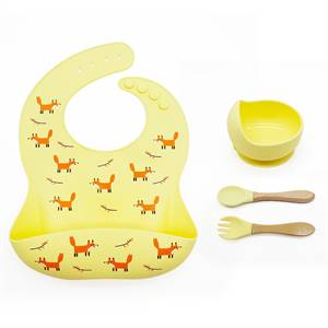 Hot Sale New Bpa Free Waterproof Baby Bib Silicone Kids Bowl Set with Spoon Supplier