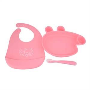 Hot Sale Factory for Animal Carton Silicone Baby Feeding Set Waterproof 3pack Bib Set
