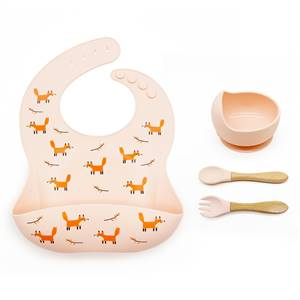 Manufacturer for New Design Baby Bib Set Non-Stick Collapsible Silicone Bowl and Spoon Set
