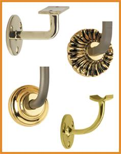 Large on-hand inventory of stainless steel & brass handrail brackets for stair railing