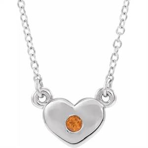Buy Sterling Silver Citrine Heart Necklace with Stone