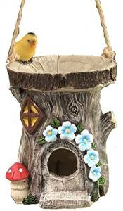 DECORATIVE HAND PAINTED HANGING BIRD HOUSE, WITH BUILT IN BIRD BATH AND INSECT REFRESHMENT STATION