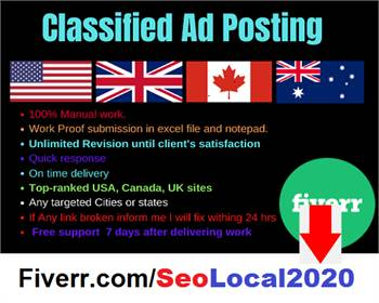 I will manually publish your ad top 20 classified ad posting sites