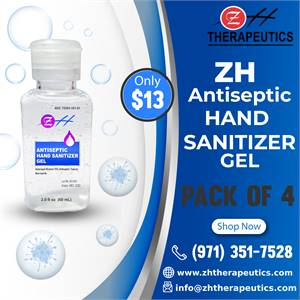 60 ml ZH Antiseptic Hand Sanitizer Gel – (Pack of 4)
