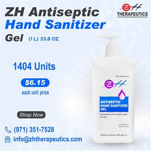 1L ZH Antiseptic Hand Sanitizer Gel – (1L – 33.8 oz)