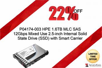 SAVE BIG 22% Discount on P04174-003 HPE 1.6TB MLC SAS 12Gbps 2.5-inch Internal SSD