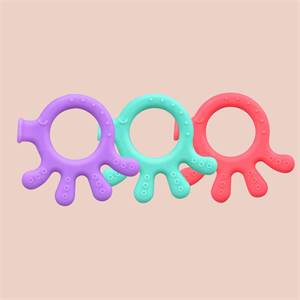 Factory Price Easy To Hold Soft Baby Teething Toy Hand Shape Silicone Teether Ring Supplier