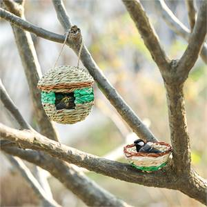 HUMMINGBIRD BIRD HOUSE FOR OUTDOOR HANGING - BIRD NEST FOR OUTSIDE WITH HOOKS AND ROPES AND ARTIFICI