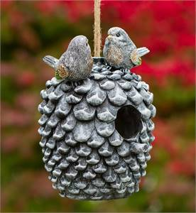 DECORATIVE HAND-PAINTED BIRD HOUSE