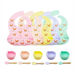 Hot Sale Customize Waterproof Baby Feeding Set of 3 Easily Clean Baby Bib Silicone Bowl with Spoon