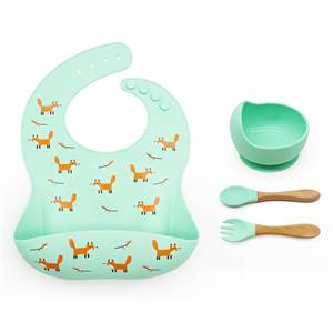 Factory Price Set of 3 Easy To Clean and Safe Baby Food Grade Silicone Bib Bowl Spoon Set Supplier