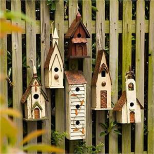 WOODEN BIRD HOUSE HANGING CHURCH BIRDHOUSE FOR OUTSIDE