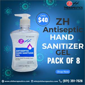 250 ml ZH Antiseptic Hand Sanitizer Gel – (Pack of 8) - ZH Therapeutics