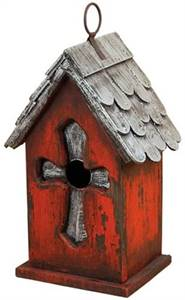 ACCENTS SILVER CROSS BIRDHOUSE, 9-1/4-INCH