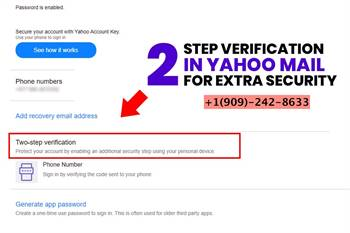 How to add a two-step verification code for extra security in Yahoo?