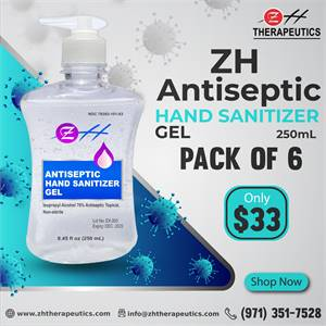 250 ml ZH Antiseptic Hand Sanitizer Gel – (Pack of 06)
