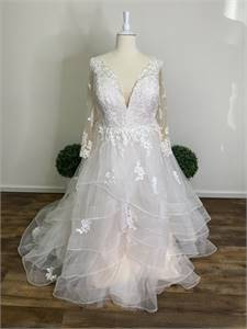 Long Sleeve Lace Champagne Wedding Dress Sizes 00-36+ Including Plus Size