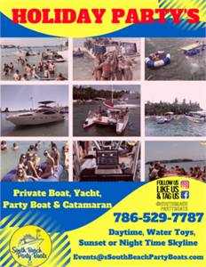 Holidays in Miami Party Boats, Yachts Charters and Office Parties
