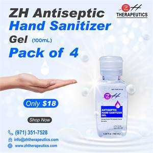 100 ml ZH Antiseptic Hand Sanitizer Gel – (Pack of 4)