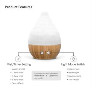 SP-G09 SOICARE 200ml Ceramic Bamboo Aromatherapy Essential Oil Diffuser Wholesale Factory