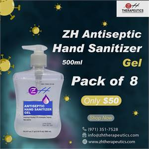 500 ml ZH Antiseptic Hand Sanitizer Gel – (Pack of 8) - ZH Therapeutics
