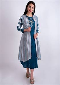 Peacock Blue Rayon Embroidered Dress With Multi-Colour Jacket - Mehar Limited