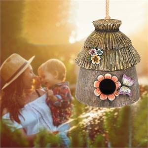 BIRD HOUSE FOR OUTSIDE, RESTING PLACE FOR BIRDS, HANGING NATURAL BIRD NEST, BLUEBIRD HOUSE HANDCRAFT