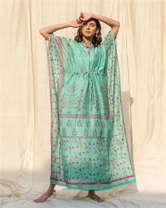 Kaftan Blue Banarasi Dress