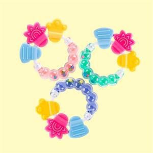 Factory Price Rattle Shape Baby Teether Rings Silicone Baby Teether Chewable Toys Supplier