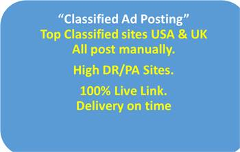 I will post your ads on top ranking classified ad posting sites