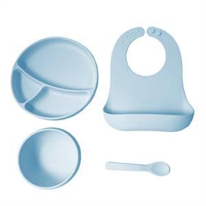 Custom Amazon Silicone Baby Bib Baby and Plate Waterproof Silicone Baby Feeding Set Exporter
